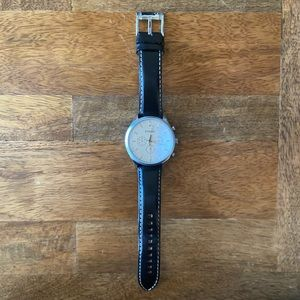 Men's black leather Fossil watch